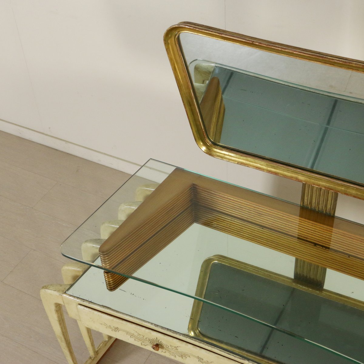 Vintage italian wood parchment and glass dressing table