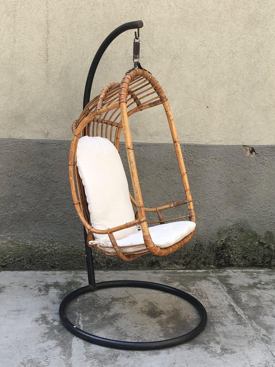 Mid Century Italian Rattan And Bamboo Hanging Chair, 1950s