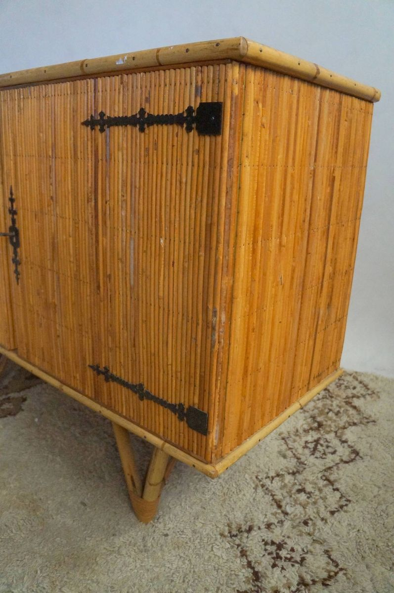 Bamboo cabinet 1950s for sale at pamono for Bamboo kitchen cabinets for sale