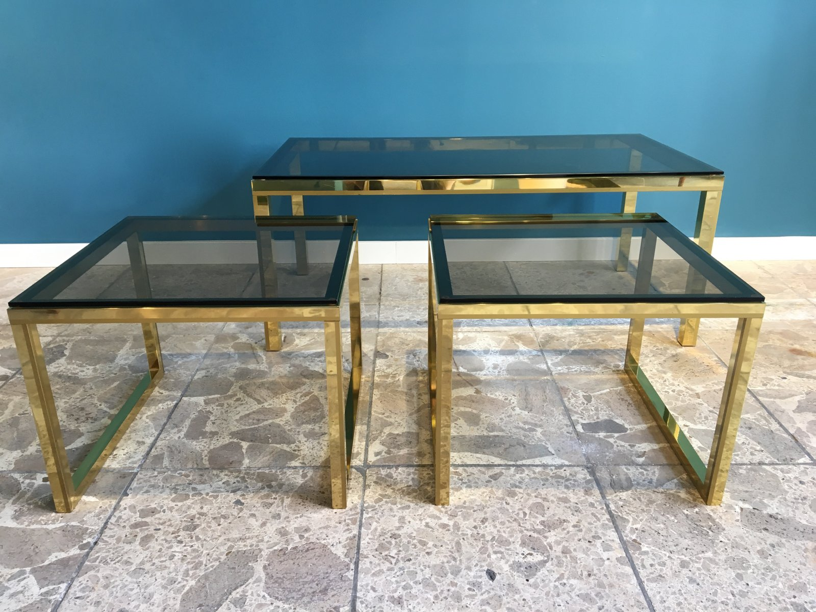 Vintage Brass U0026 Smoked Glass Nesting Tables For Sale At Pamono