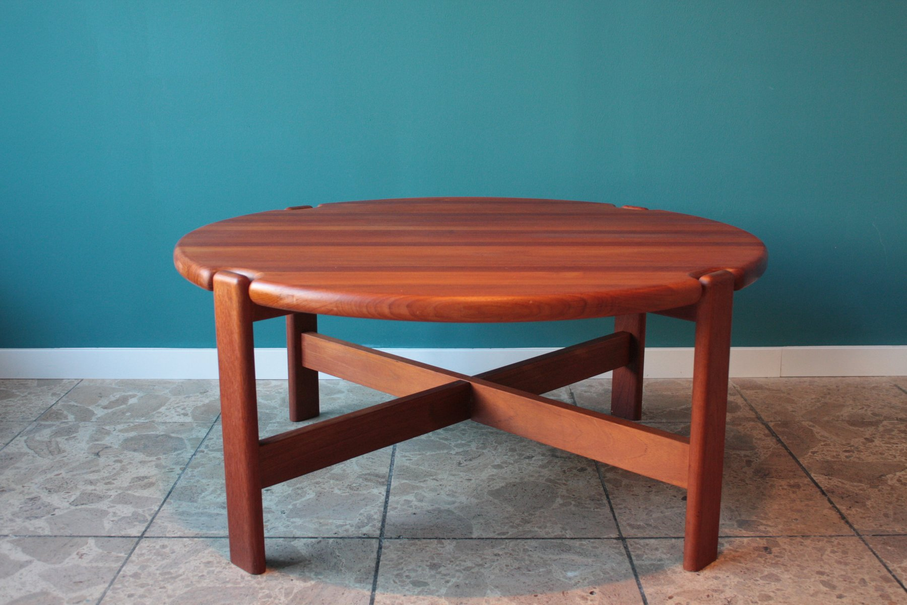 Round Danish Solid Teak Coffee Table 1970s for sale at Pamono