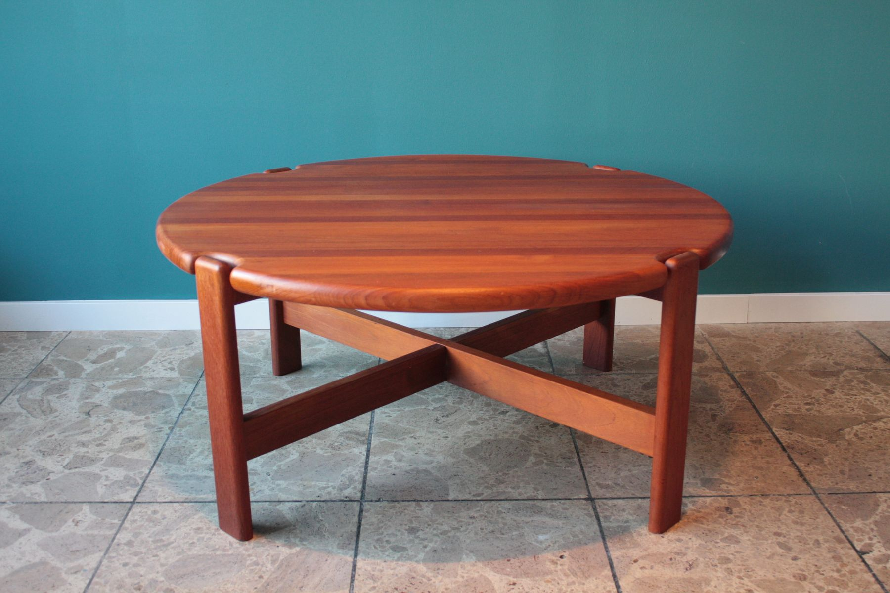 Round danish solid teak coffee table 1970s for sale at pamono geotapseo Gallery