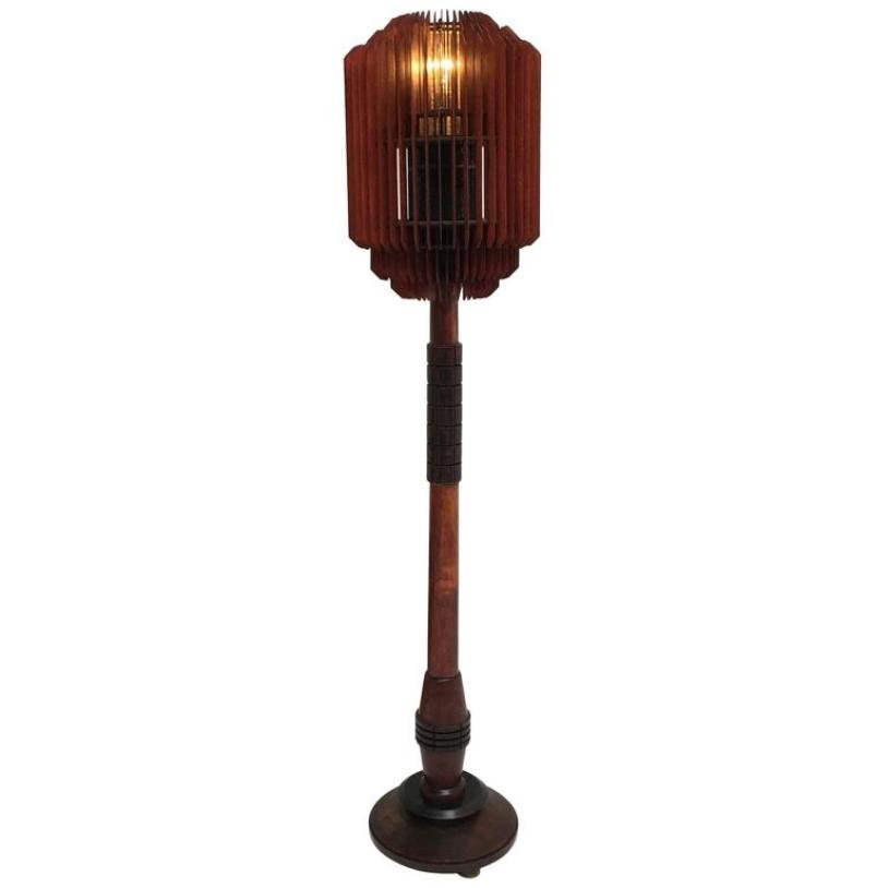 art deco stehlampe mit holzlamellen 1930er bei pamono kaufen. Black Bedroom Furniture Sets. Home Design Ideas