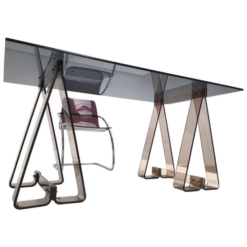 Smoked Acrylic And Glass Trestle Desk With A Lucite And
