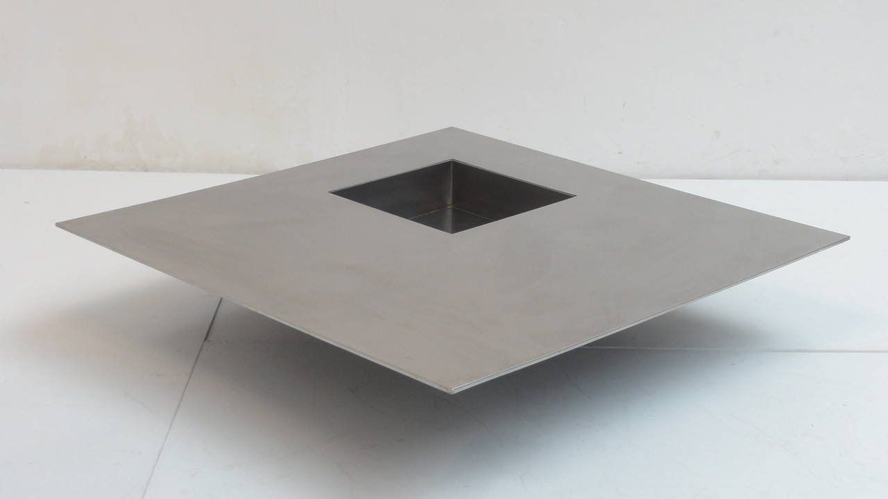 Italian Stainless Steel Floating Coffee Table By Giovanni Offredi For  Saporiti, 1970s
