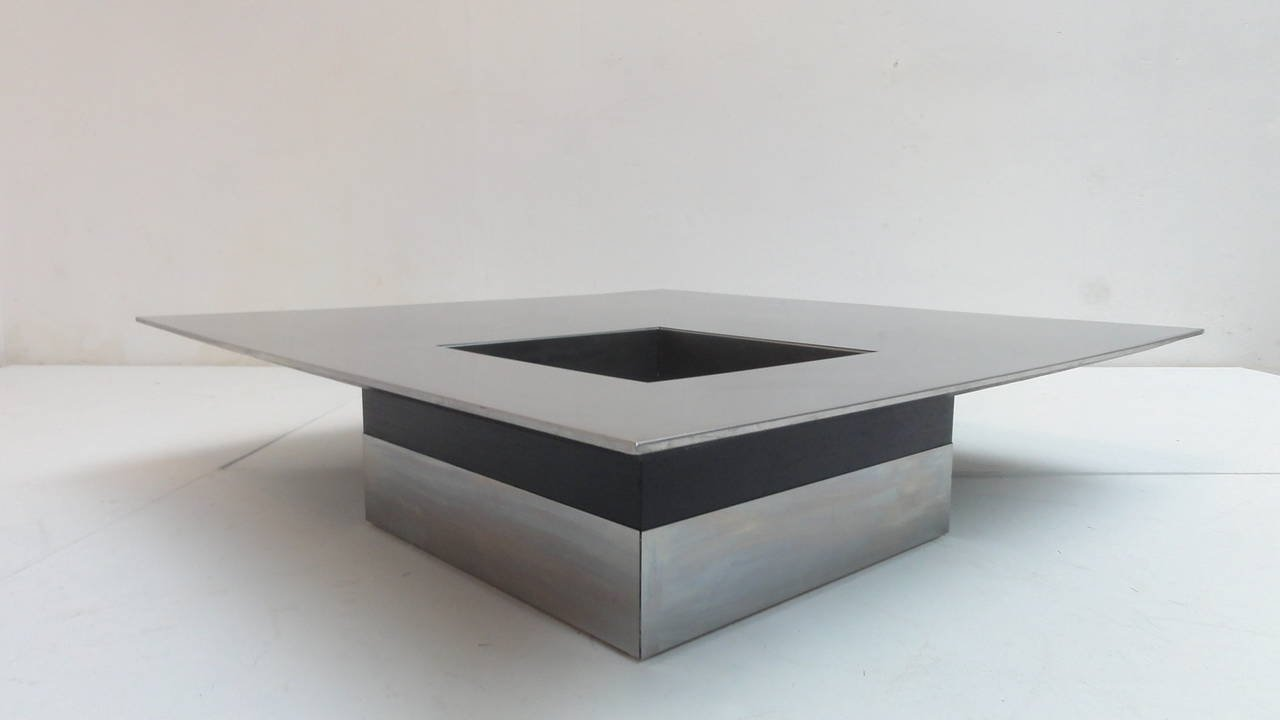 Italian Stainless Steel Floating Coffee Table by Giovanni fredi