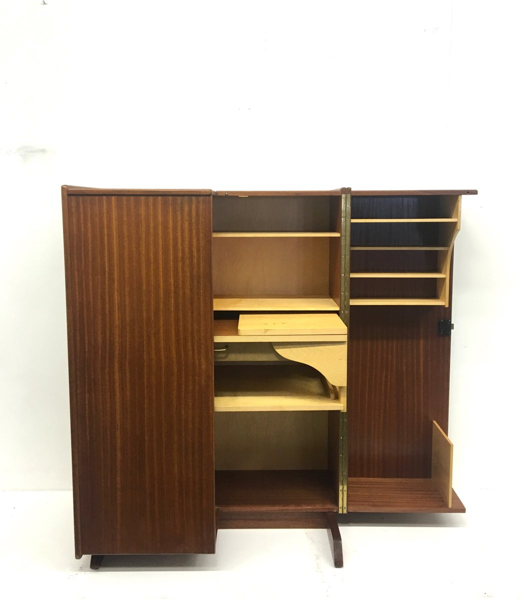 mid century schrank mit ausziehbarem schreibtisch von mummenthaler meier bei pamono kaufen. Black Bedroom Furniture Sets. Home Design Ideas