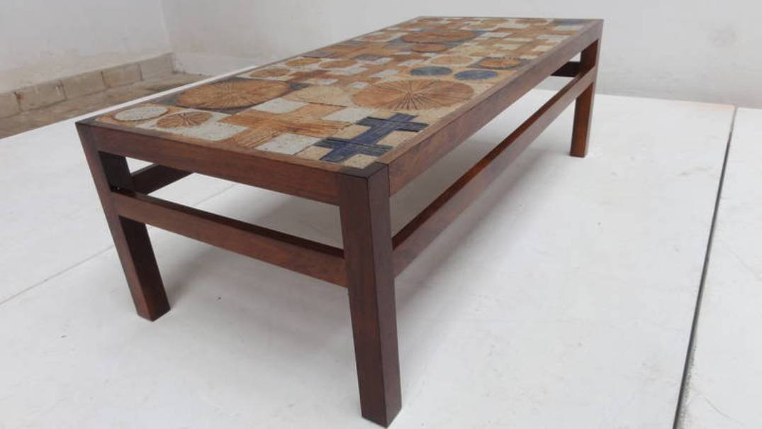 Marvelous Danish Ceramic U0026 Brazilian Rosewood Coffee Table By Tue Poulsen For Haslev,  1970