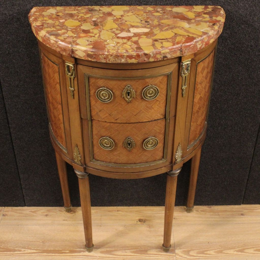 small french inlaid demi lune commode with marble top 1920s for sale at pamono. Black Bedroom Furniture Sets. Home Design Ideas