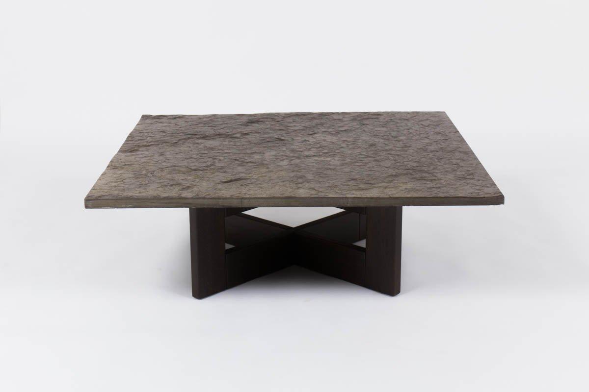 Table Basse Vintage Avec Plateau En Ardoise En Vente Sur Pamono