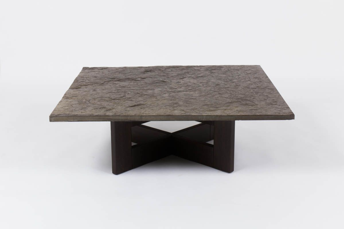 Vintage coffee table with slate top for sale at pamono for Table basse 3 pieds