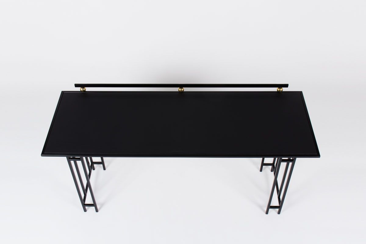 bureau avec structure en m tal noir et plateau en ska 1950s en vente sur pamono. Black Bedroom Furniture Sets. Home Design Ideas