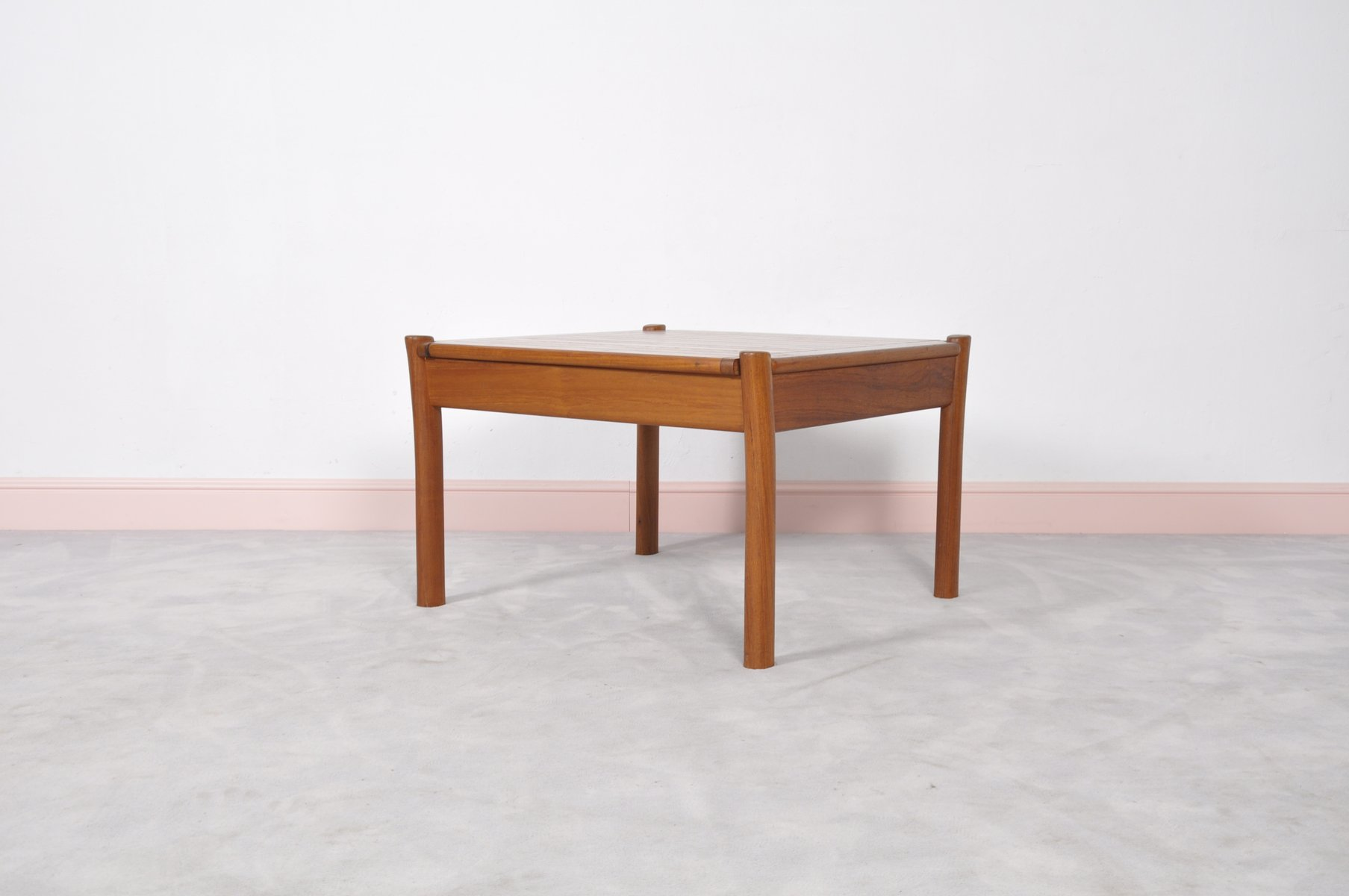 Vintage Danish Teak Coffee Table With Rounded Edges For