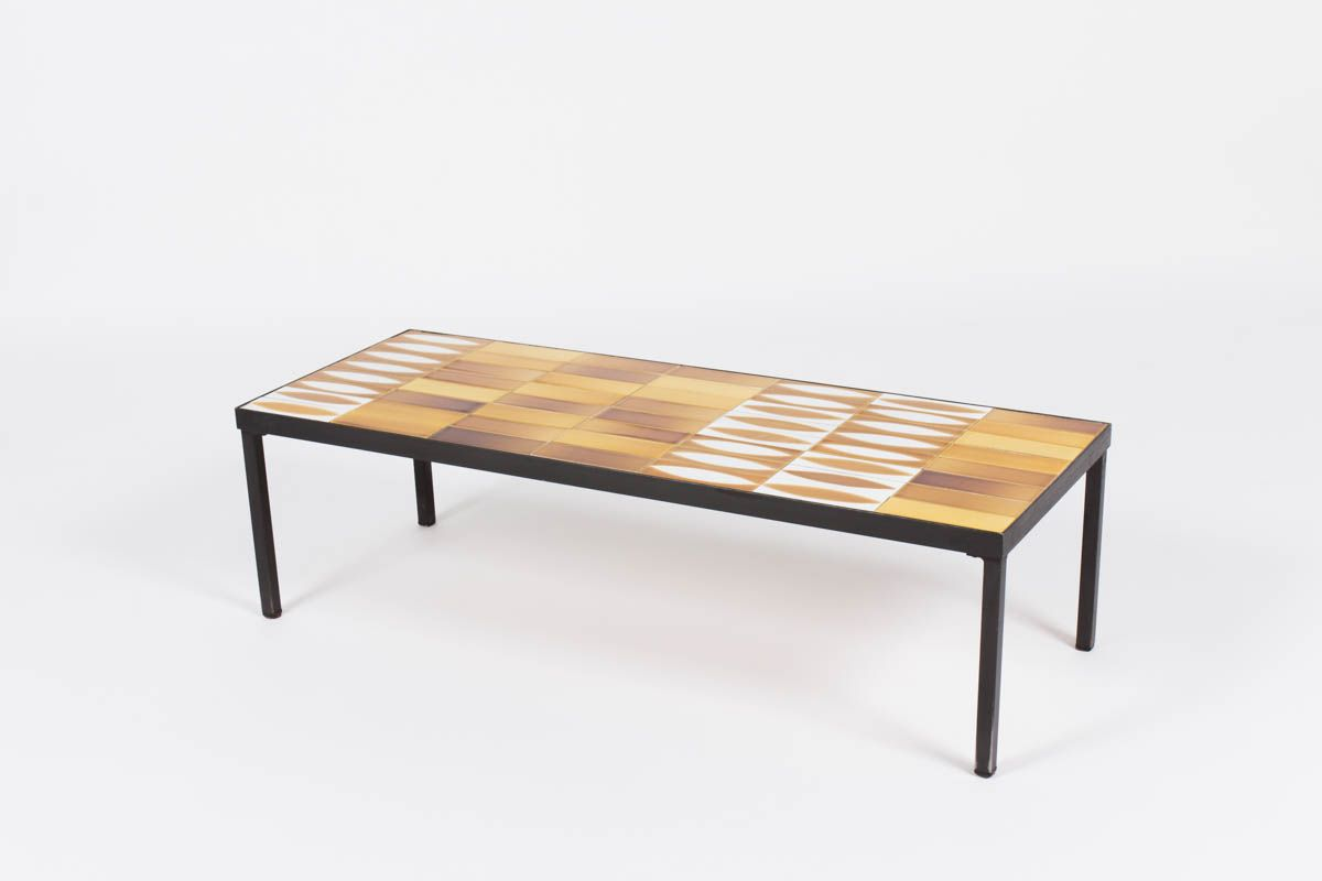 Mid Century Navette Coffee Table By Roger Capron 1950s For Sale At Pamono