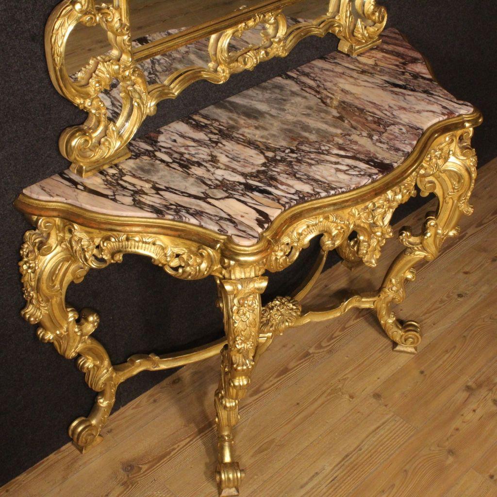 italienischer vergoldeter vintage konsolentisch mit. Black Bedroom Furniture Sets. Home Design Ideas