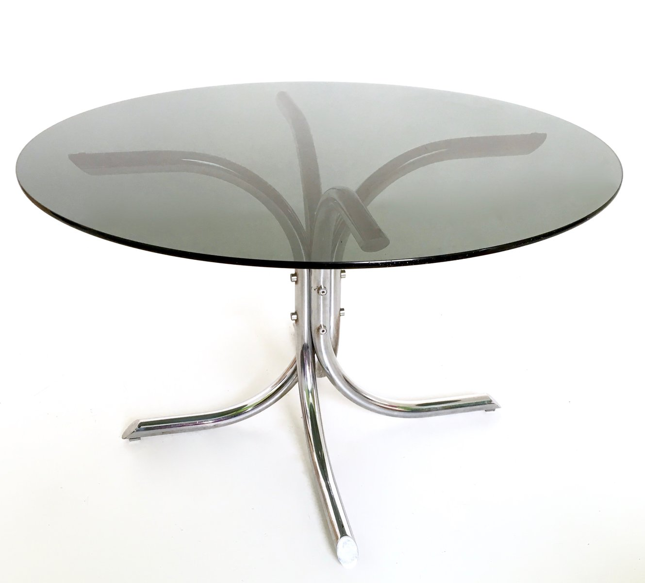 Italian Chromed Metal And Smoked Glass Dining Table, 1970s Part 37