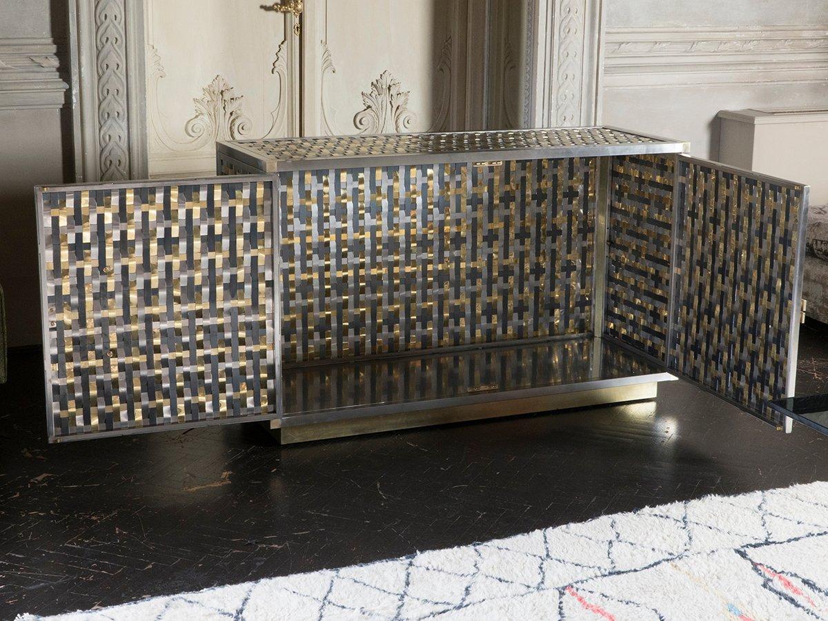 meuble intreccio en acier fer et laiton par franco mariotti pour edizioni flair 2017 en vente. Black Bedroom Furniture Sets. Home Design Ideas