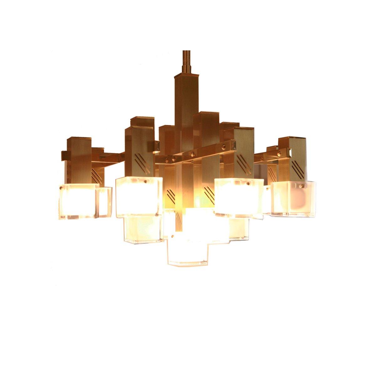 italienische vintage deckenlampe aus messing glas. Black Bedroom Furniture Sets. Home Design Ideas