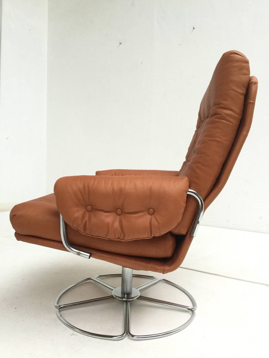 Price per piece & Swedish Leather u0026 Chrome Swivel Easy Chair by Bruno Mathsson for ... islam-shia.org