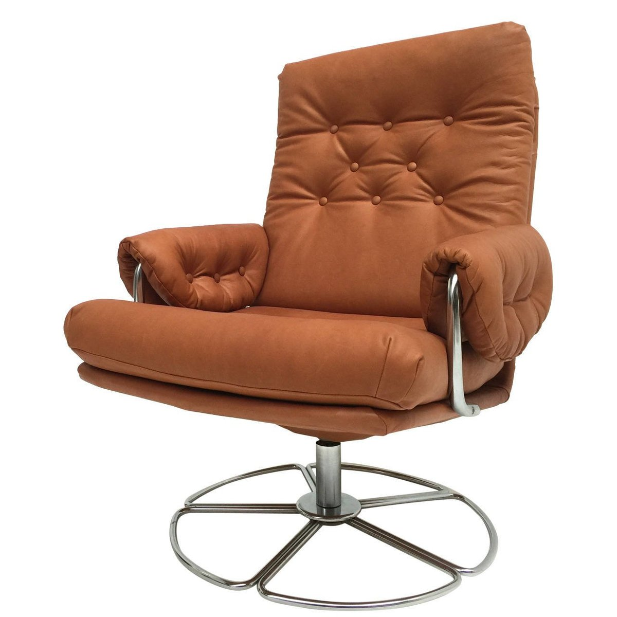 Swedish Leather Amp Chrome Swivel Easy Chair By Bruno