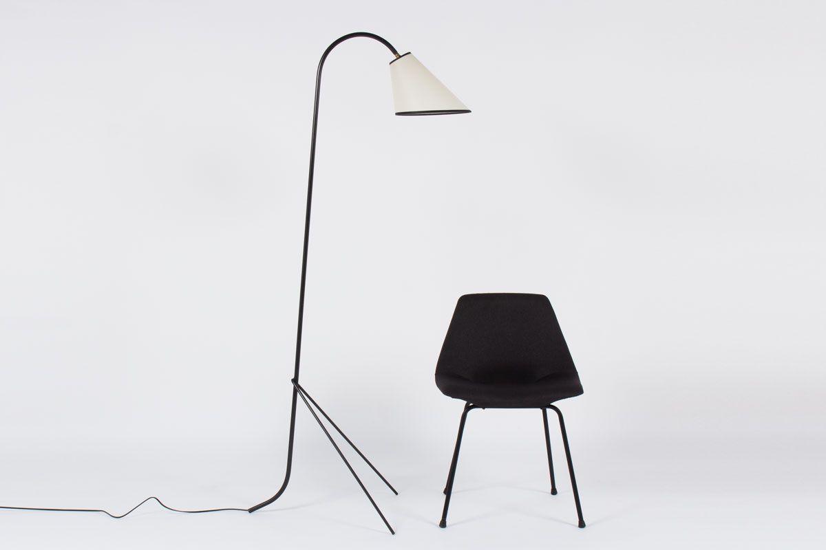 dreibein stehlampe in schwarz wei 1950er bei pamono kaufen. Black Bedroom Furniture Sets. Home Design Ideas