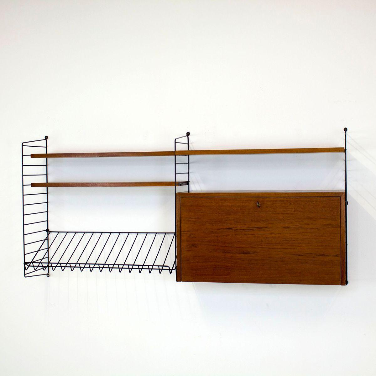 teak wandregal mit barfach von nisse strinning f r string 1960er bei pamono kaufen. Black Bedroom Furniture Sets. Home Design Ideas