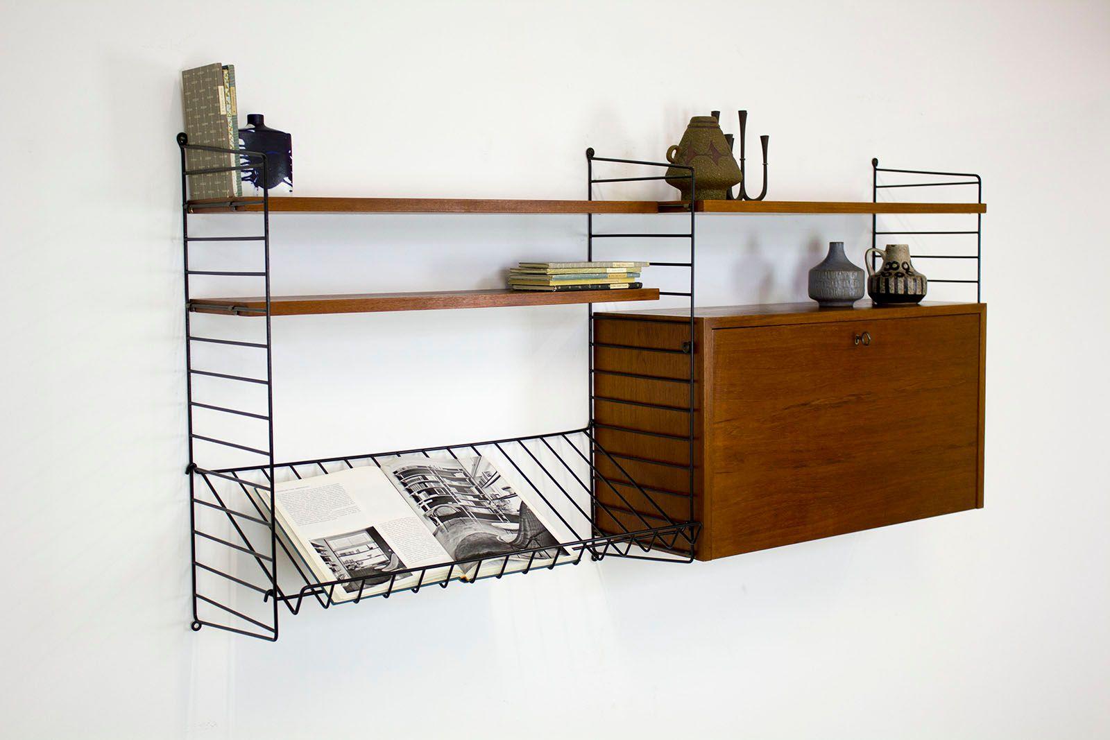 syst me d 39 tag re avec meuble bar par nisse strinning pour string 1960s en vente sur pamono. Black Bedroom Furniture Sets. Home Design Ideas