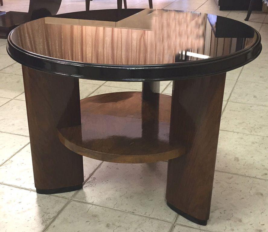 Table basse art d co en verre opalin et palissandre for Deco table basse en verre