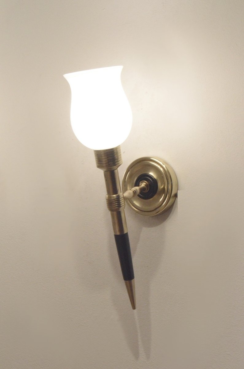 French Brass Wall Sconces : Mid-Century French Wood & Brass Wall Sconces from Maison Arlus, Set of 2 for sale at Pamono