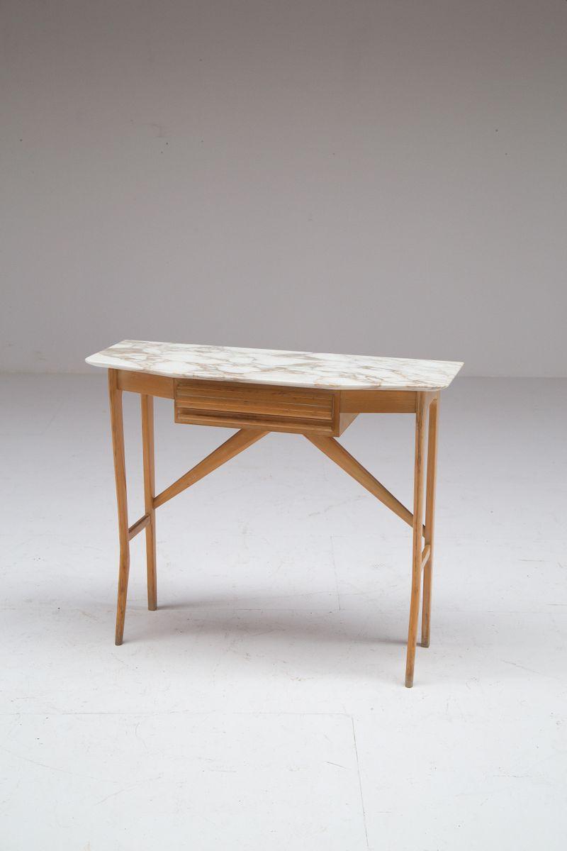 italienischer mid century konsolentisch aus holz carrara marmor bei pamono kaufen. Black Bedroom Furniture Sets. Home Design Ideas