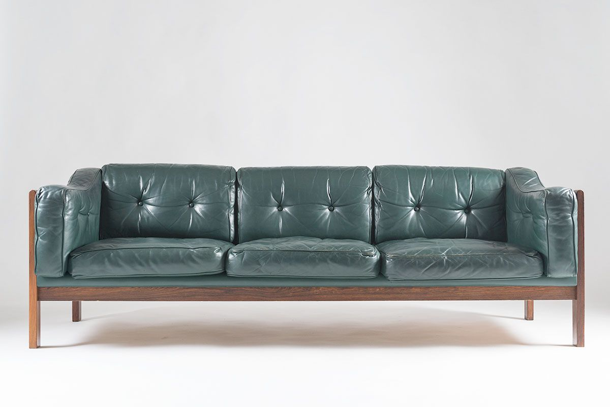 Vintage Scandinavian Monte Carlo Rosewood And Green Leather Sofa By Ingvar  Stockum For Futura Möbler