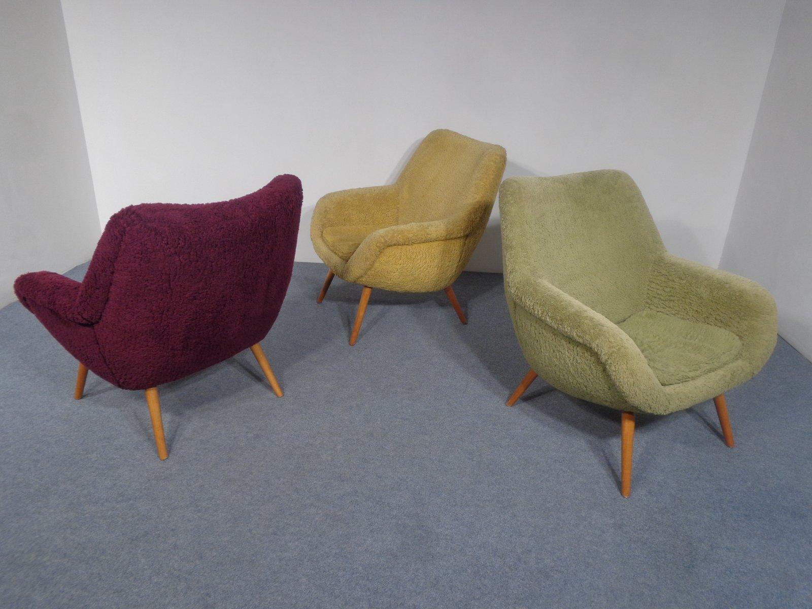 mid century sessel in gelb gr n und lila 1950er 3er set bei pamono kaufen. Black Bedroom Furniture Sets. Home Design Ideas