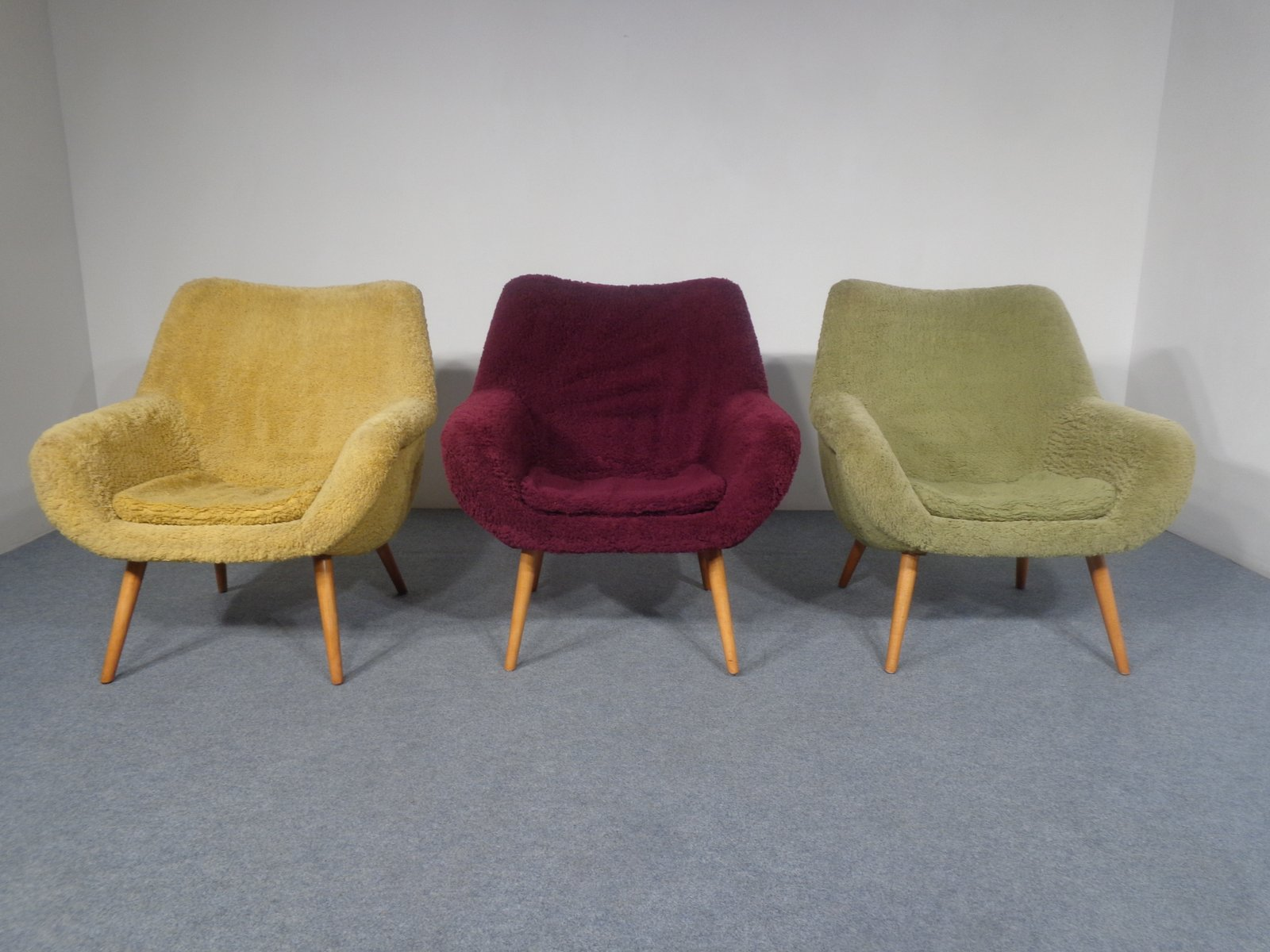 Mid Century Yellow, Green, And Purple Armchairs, 1950s, Set Of 3
