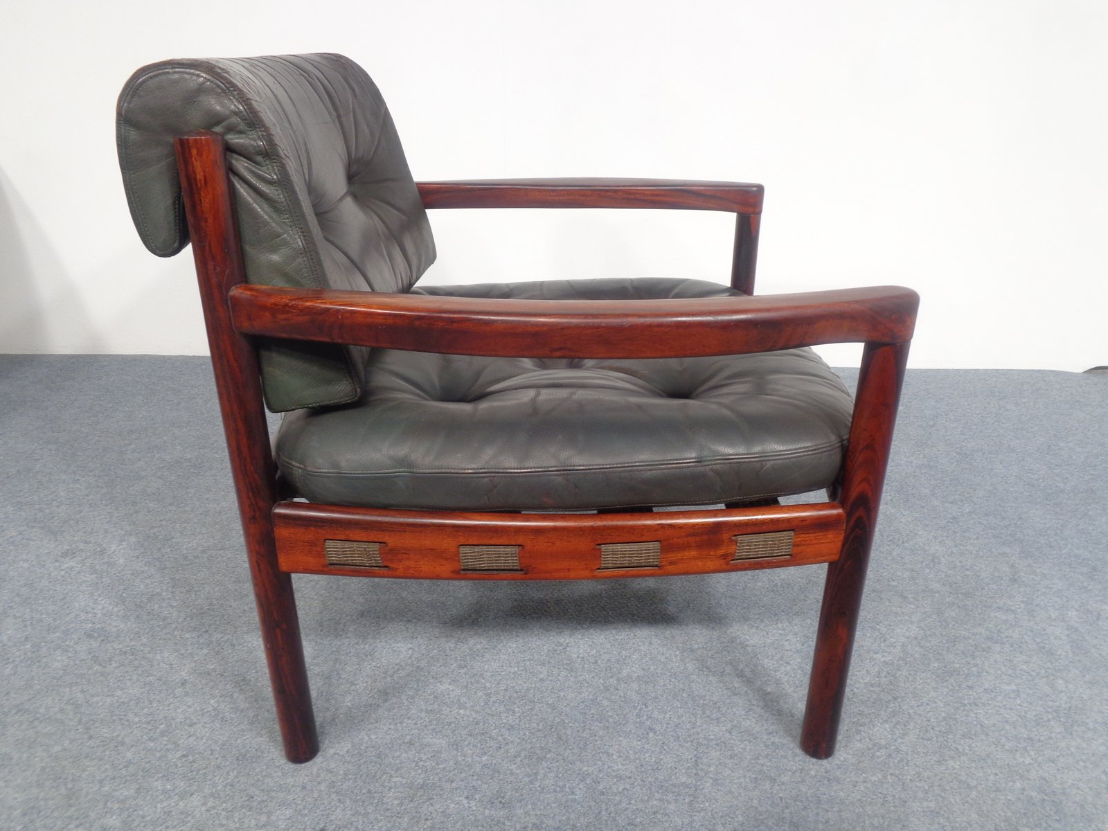 midcentury swedish rosewood and black leather armchair by arne norell 1960s