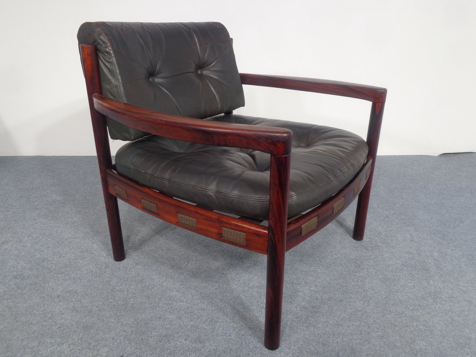 Mid Century Swedish Rosewood and Black Leather Armchair by Arne