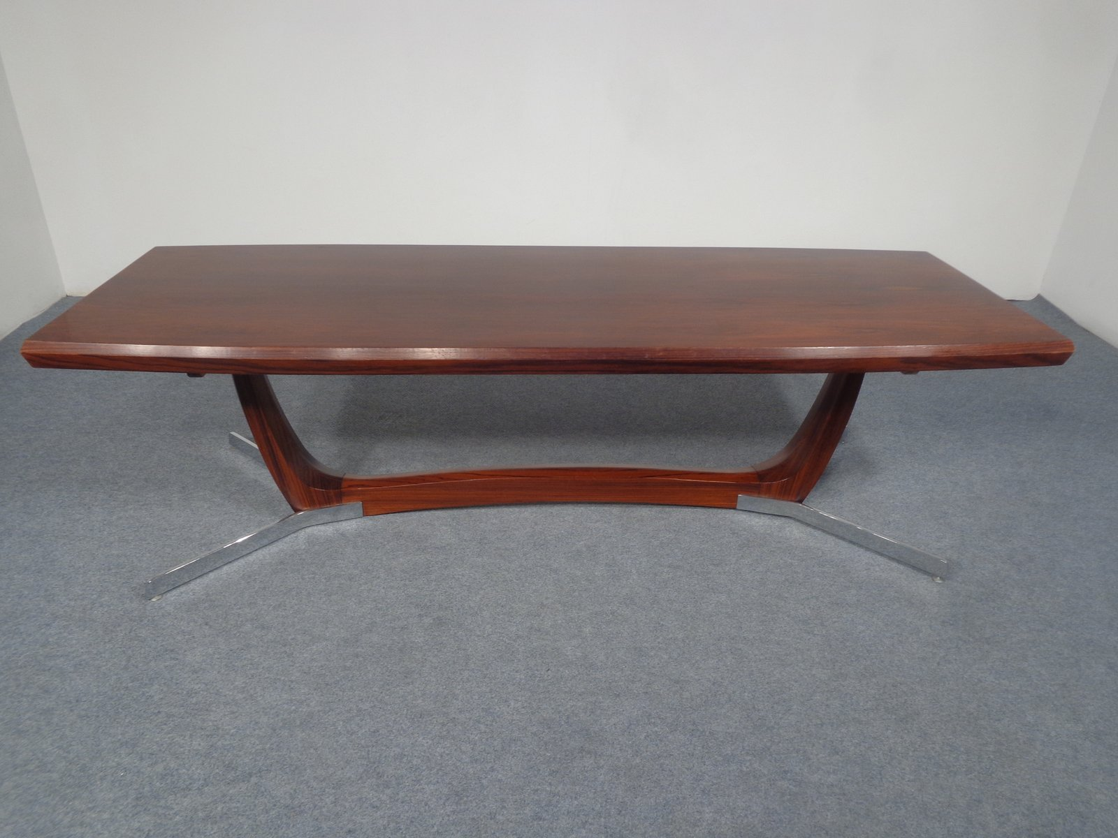 Mid Century Rosewood & Chrome Coffee Table 1960s for sale at Pamono