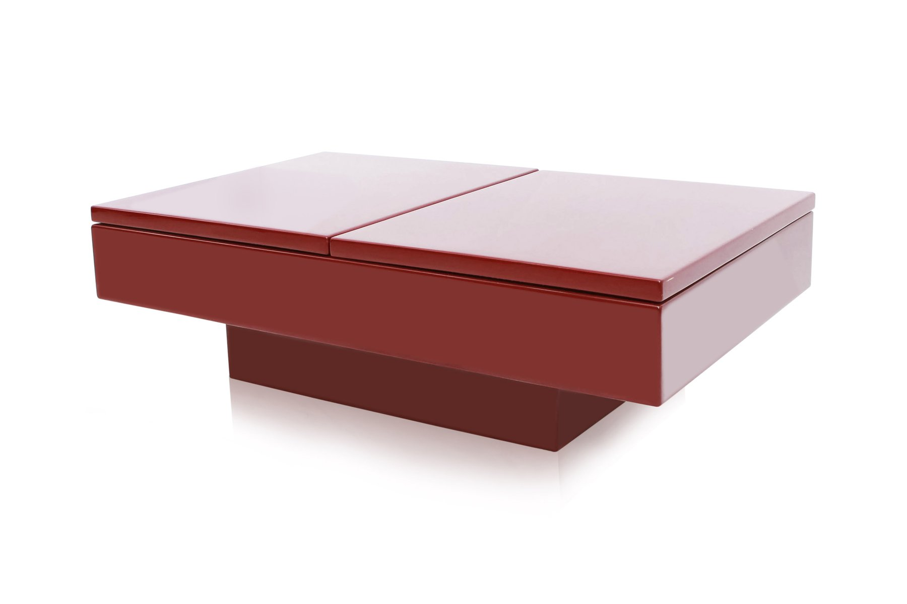 Red Lacquered Sliding Bar Coffee Table By Jean Claude Mahey 1980s For Sale At Pamono