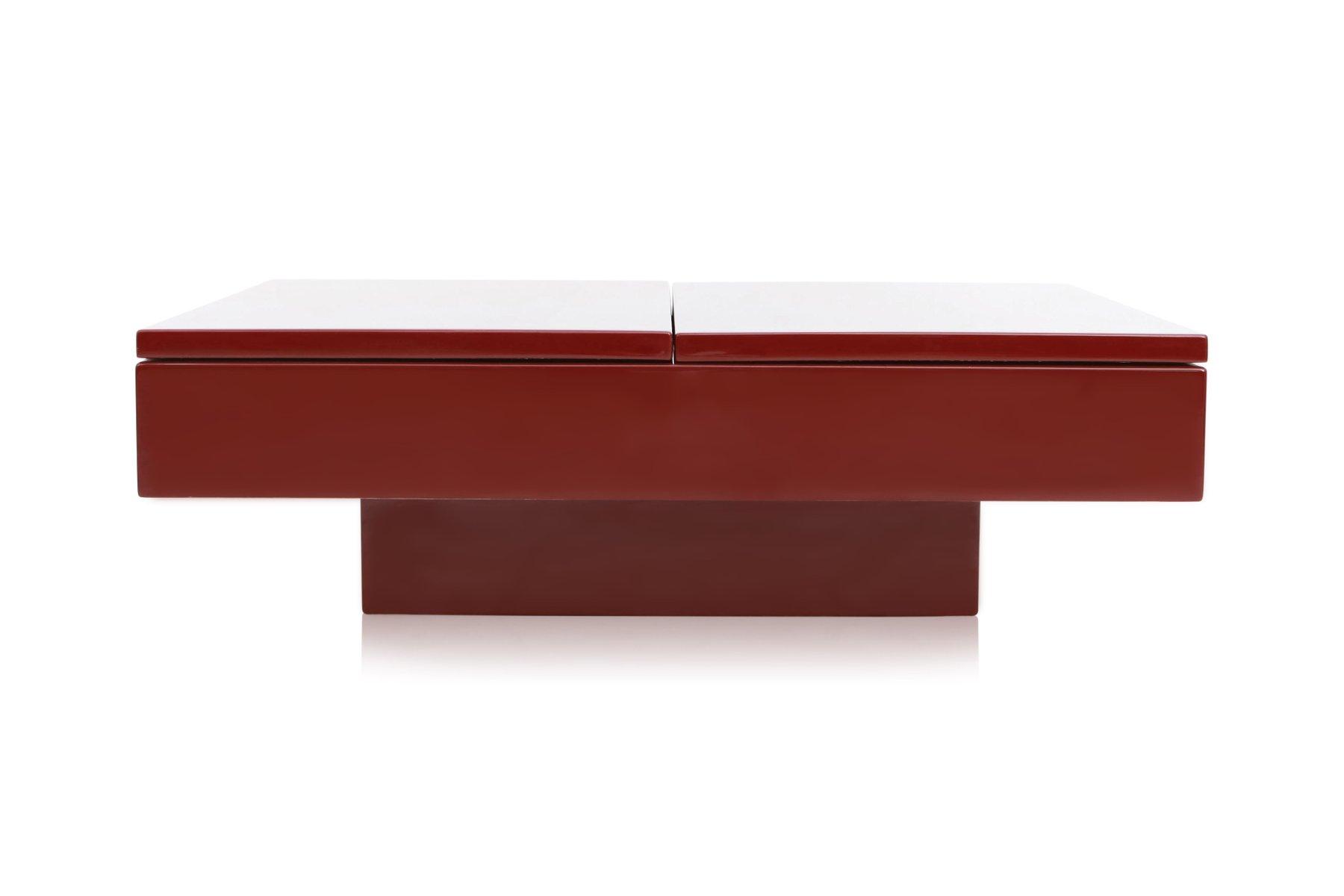 Rot lackierter ausziehbarer couchtisch von jean claude - Couchtisch rot ...