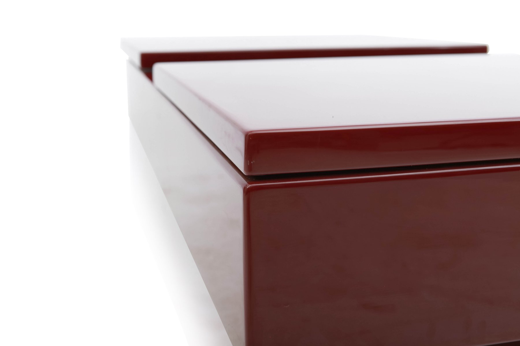 Red Lacquered Sliding Bar Coffee Table by Jean Claude Mahey 1980s