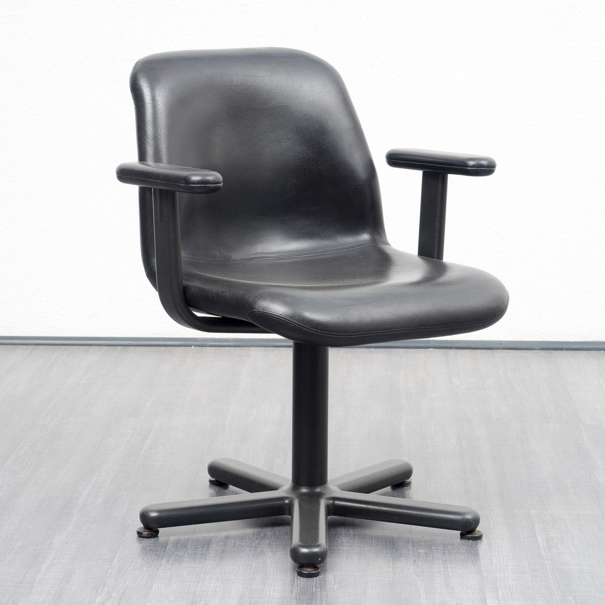 Mid Century Leather Desk Chair From Knoll International, 1950s