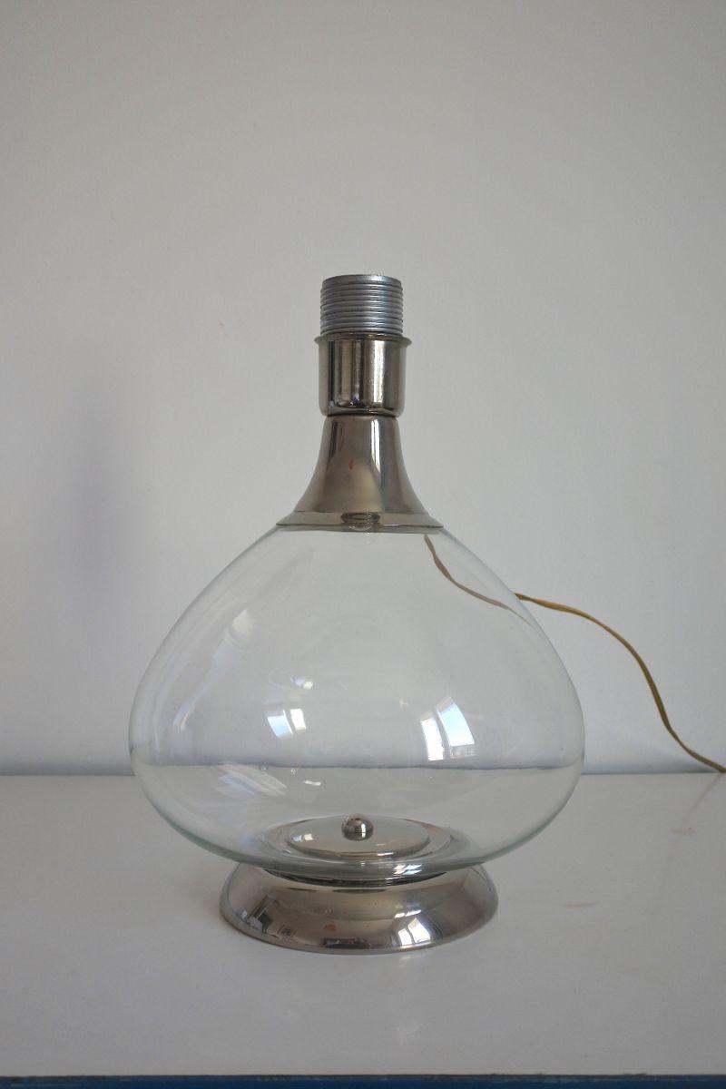 italienische tischlampe aus glas und verchromtem metall. Black Bedroom Furniture Sets. Home Design Ideas