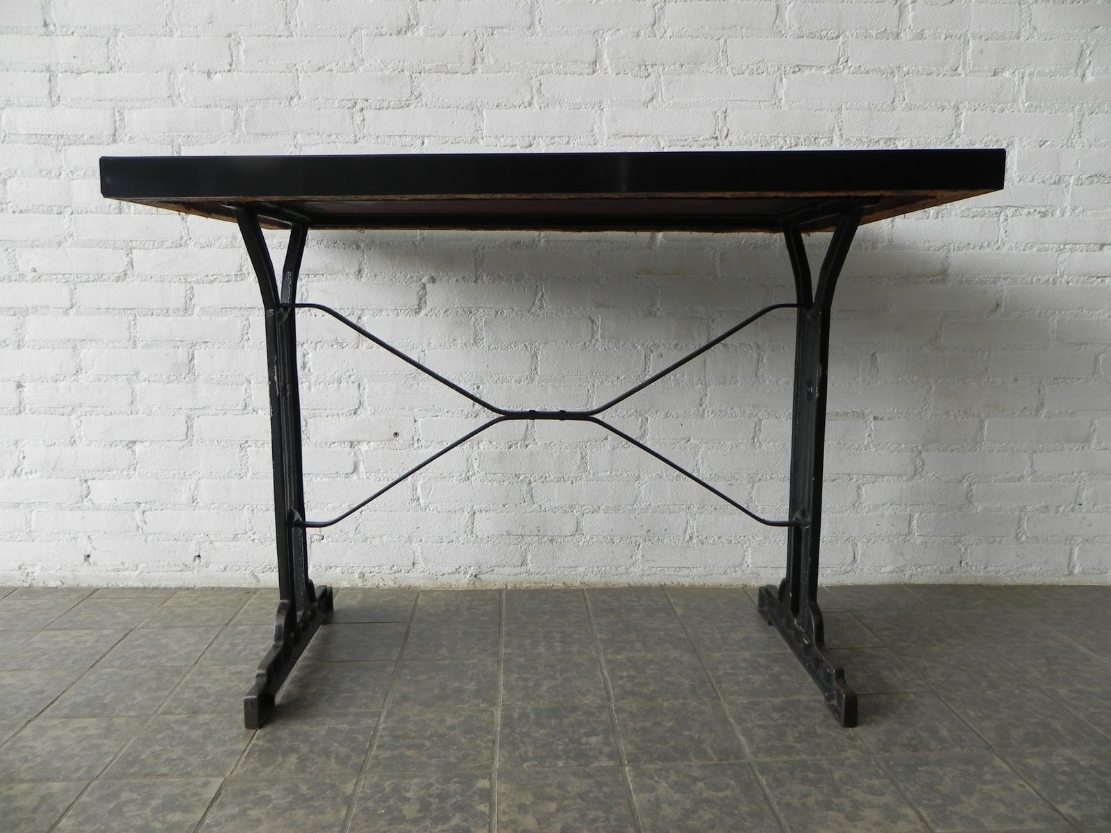 French Bistro Table With Cast Iron Frame And Formica Top, 1930s