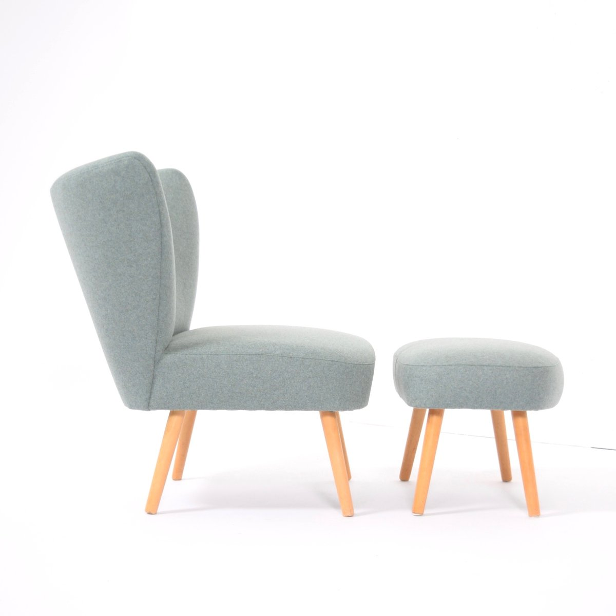 Dusty green cocktail chair with footstool 1950s for sale for Dutch design chair uk