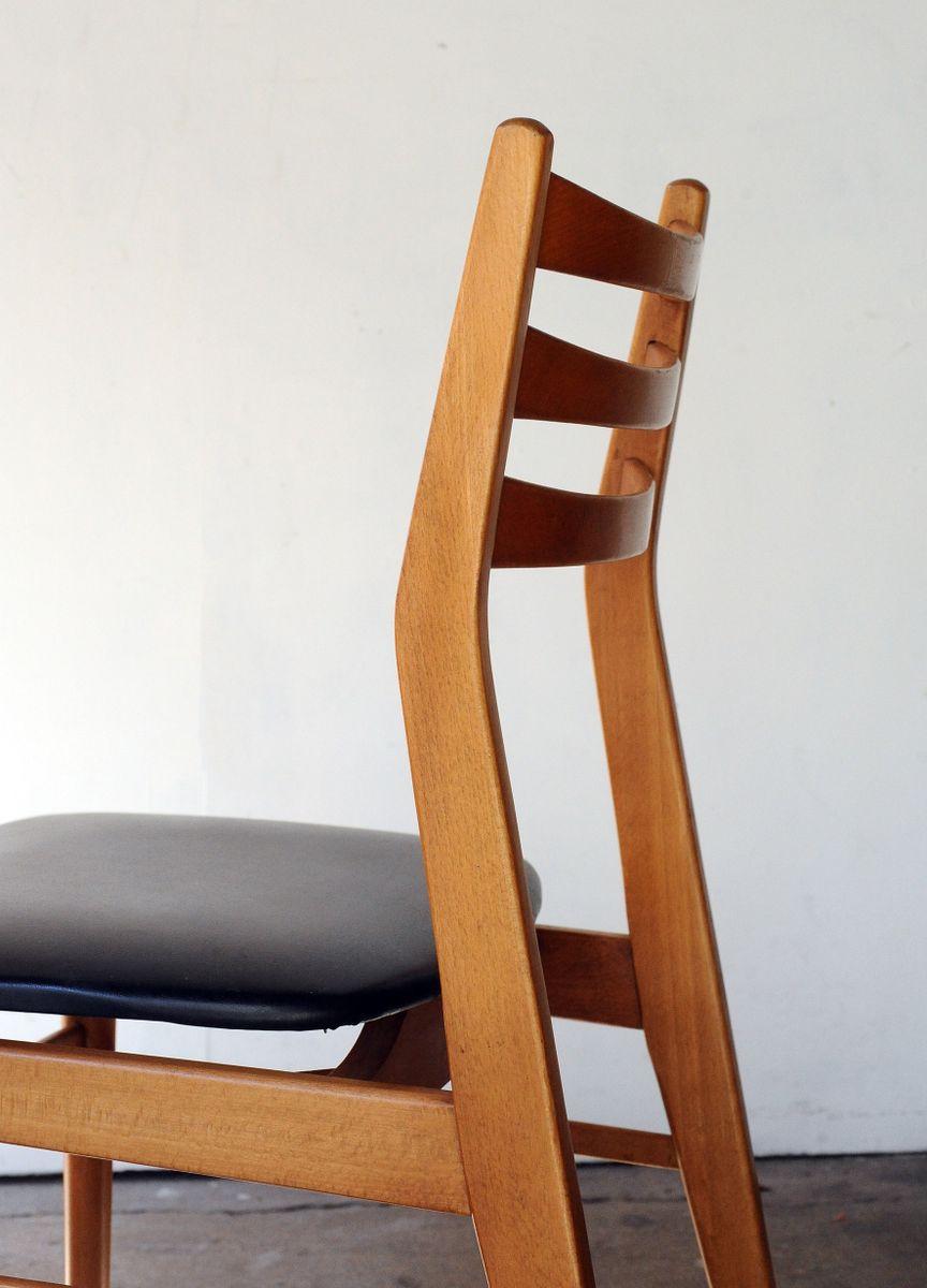 Chaises de salle manger vintage en teck blond et ska for Chaises de salle a manger en solde