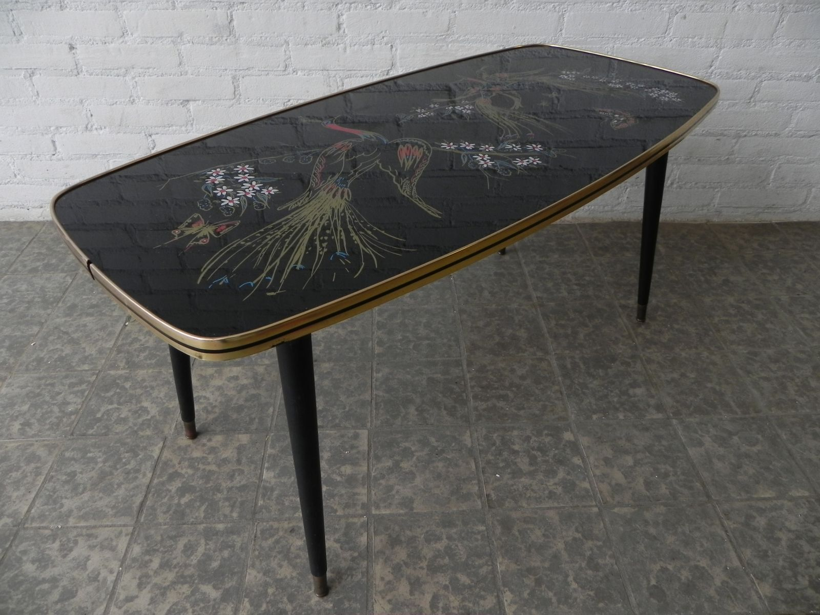 Vintage Coffee Table With Glass Top 1950s For Sale At Pamono