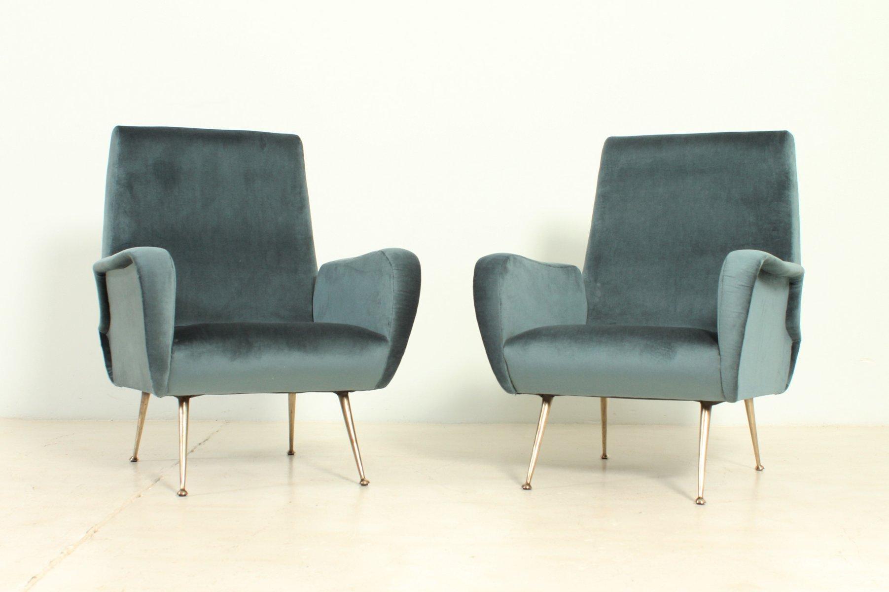 Vintage Italian Velvet Armchairs with Brass Legs 1950s Set of 2