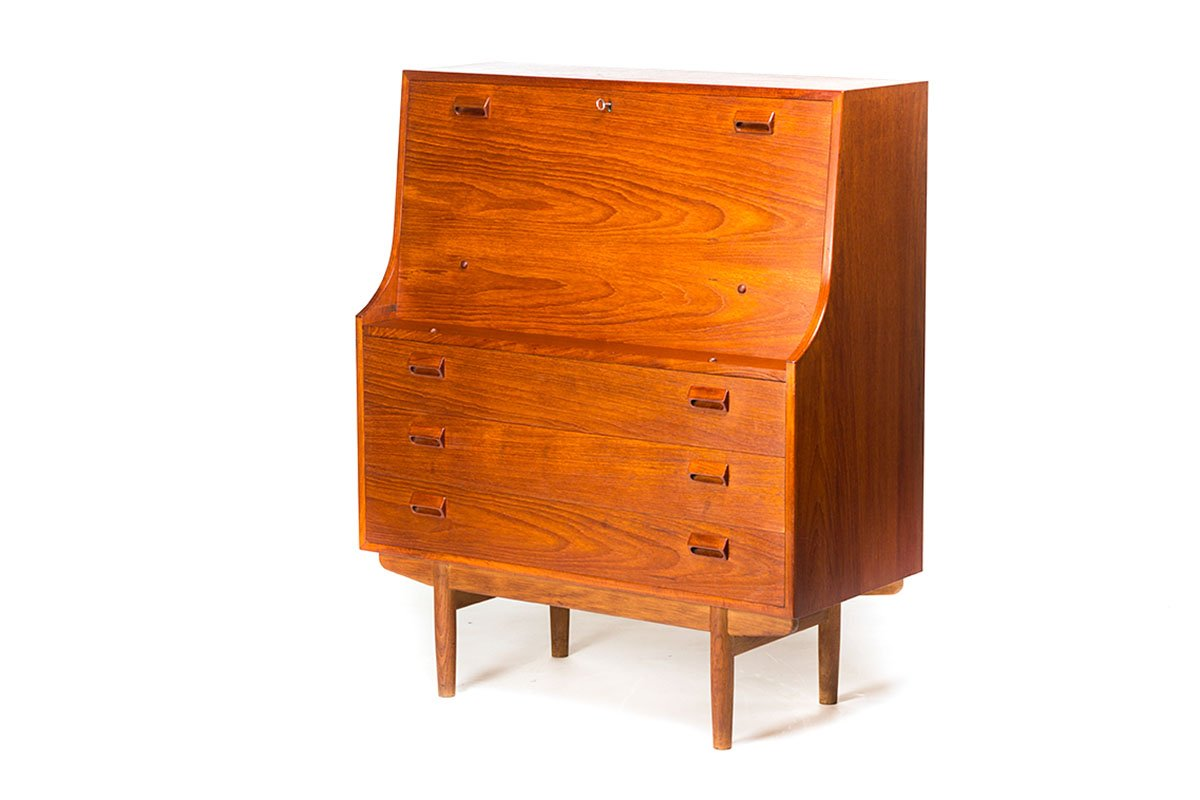 vintage secretaire in teak by borge mogensen for s borg. Black Bedroom Furniture Sets. Home Design Ideas