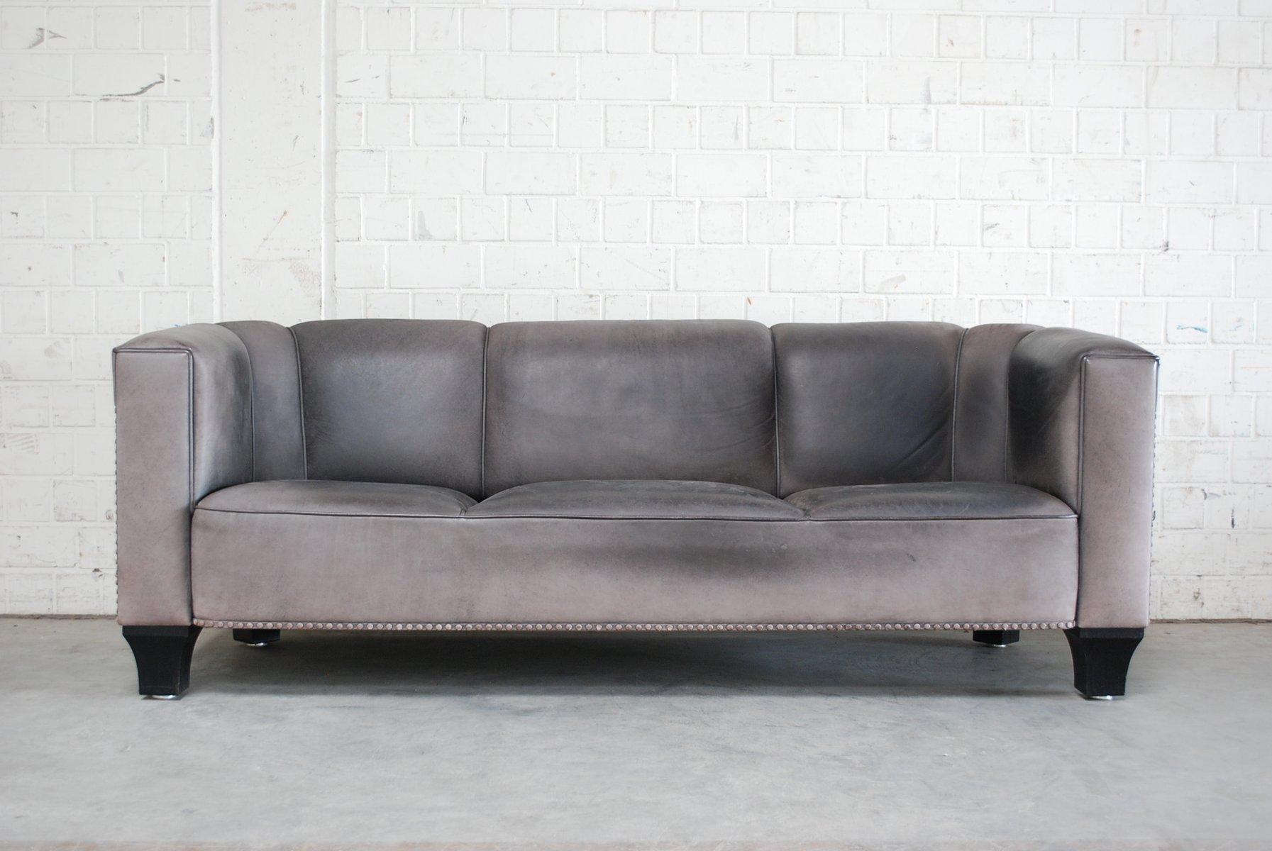 vintage palais stoclet sofa aus leder von josef hoffmann f r wittmann 1980er bei pamono kaufen. Black Bedroom Furniture Sets. Home Design Ideas