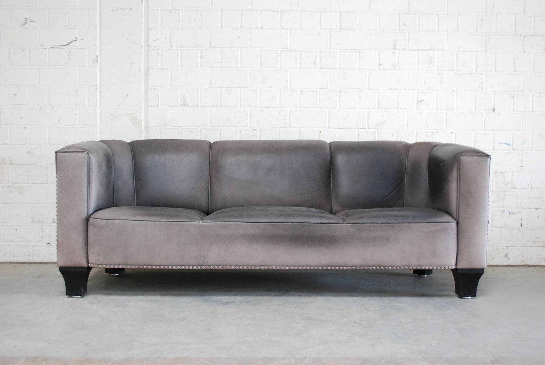 Vintage Palais Stoclet Leather Sofa By Josef Hoffmann For Wittmann 1980s