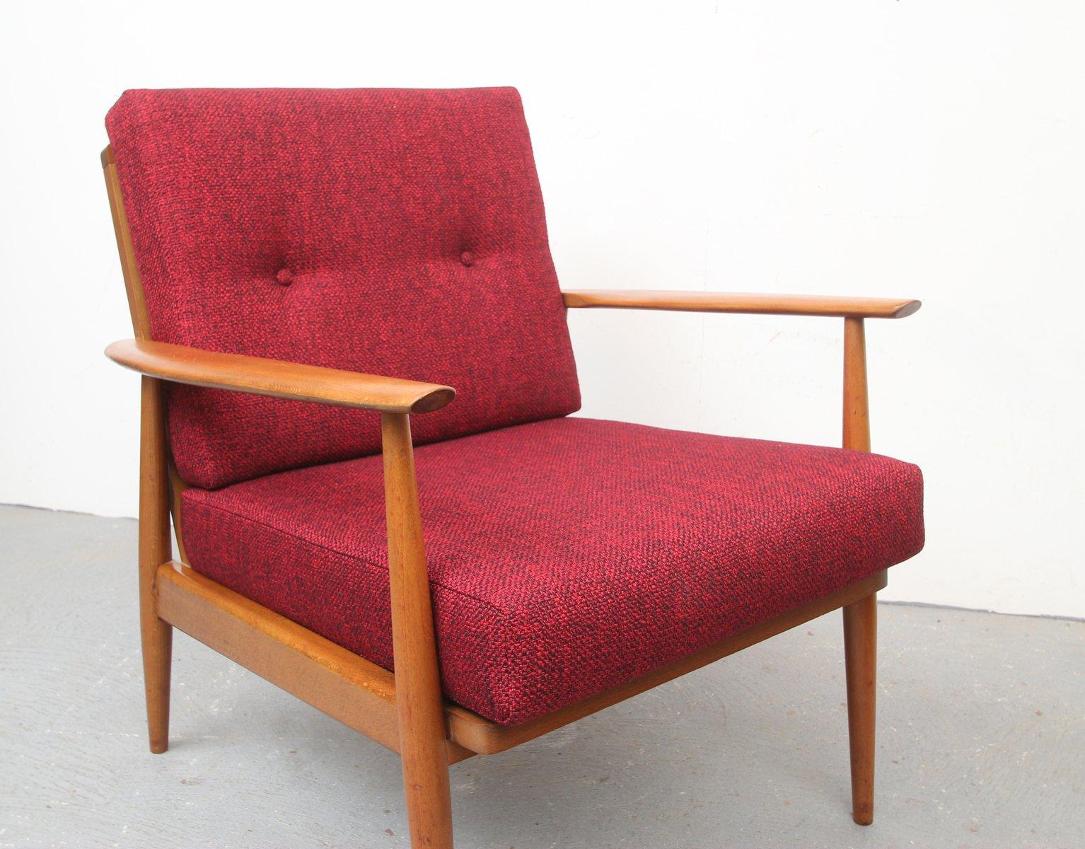 sessel mit roten kissen 1950er bei pamono kaufen. Black Bedroom Furniture Sets. Home Design Ideas